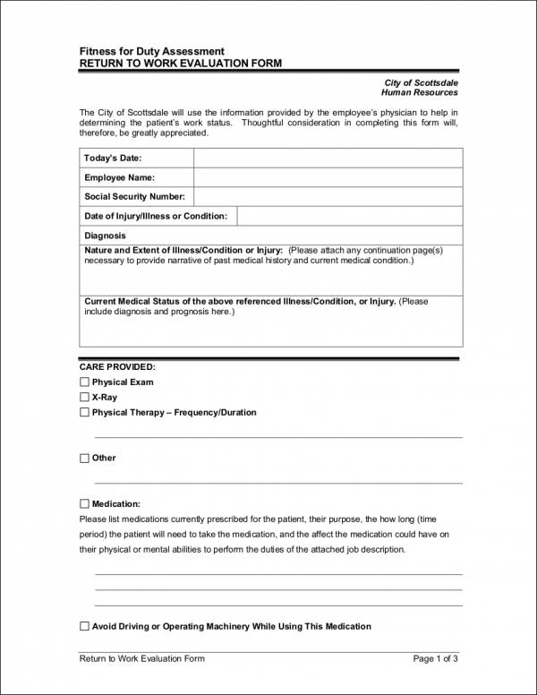return to work evaluation form