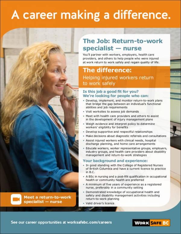 return to work nurse specilaist job profile