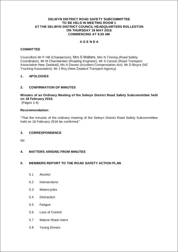 road safety meeting agenda sample template