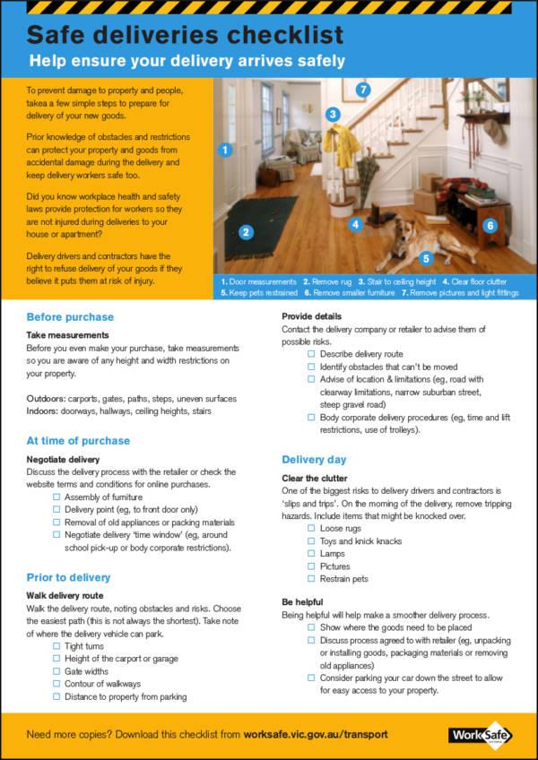safe deliveries checklist sample