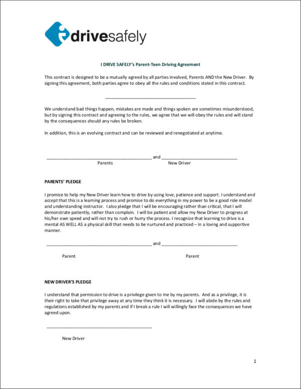 safety contract template for driving