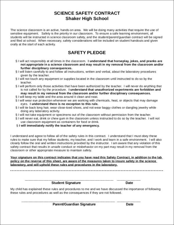 Safety Contract Samples  Templates  Free Word Pdf Format Download