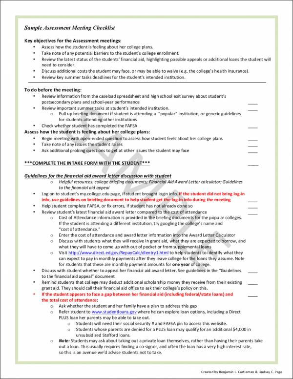 sample assessment meeting checklist template