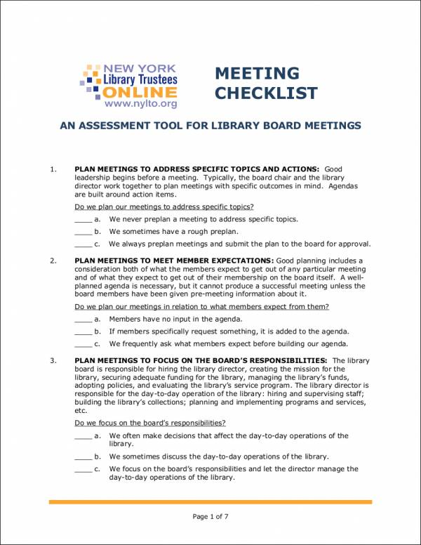 sample board meeting checklist template