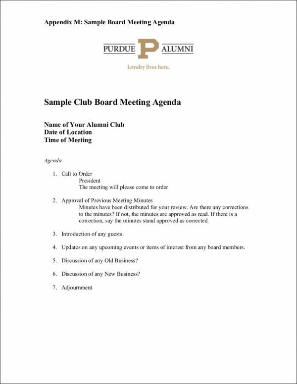 sample club board meeting agenda template