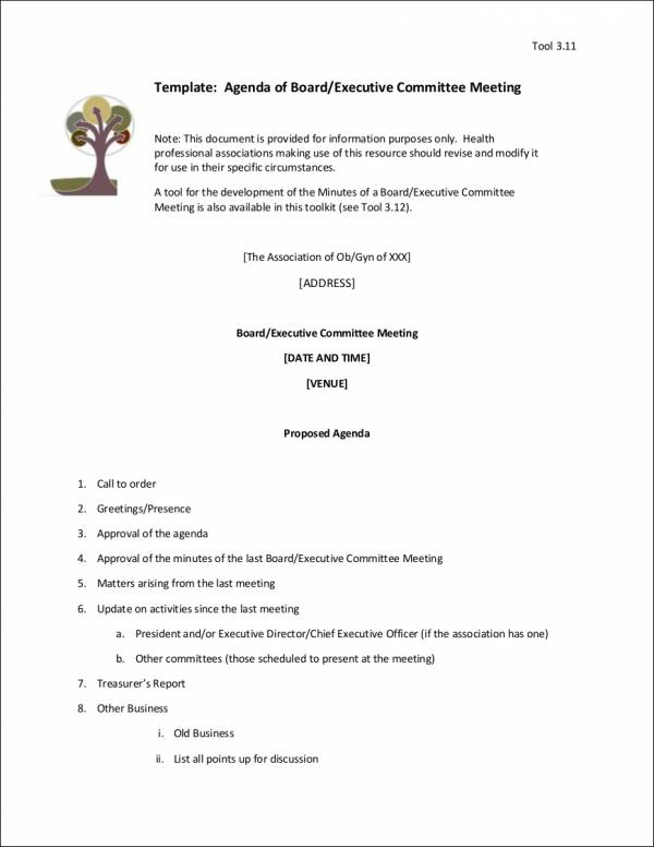 sample executive committee meeting agenda template