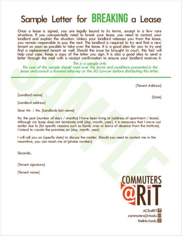 lease break letter 23 lease termination letter samples amp templates free 13506 | Sample Letter for Breaking a Lease