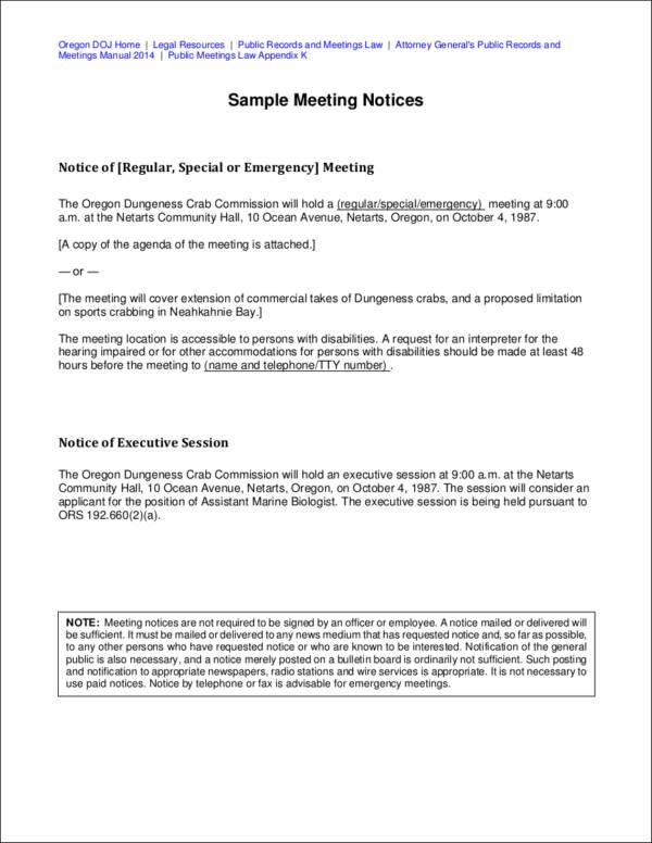 sample meeting notice in pdf