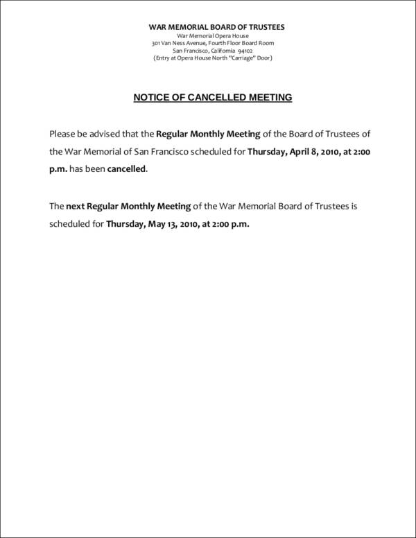 sample notice of cancelled meeting