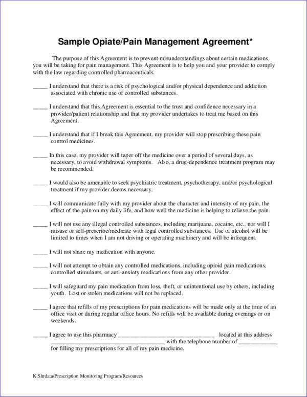 sample pain management contract template