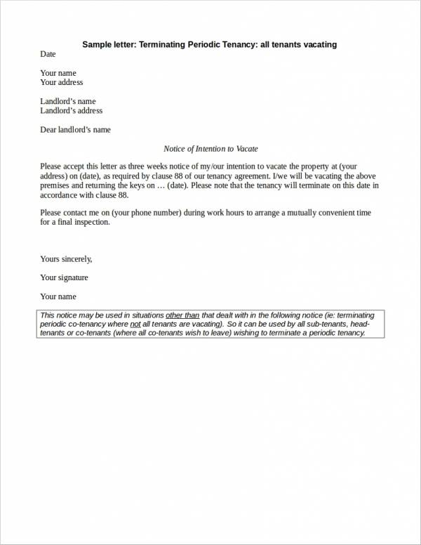 free 23  lease termination letter samples  u0026 templates in