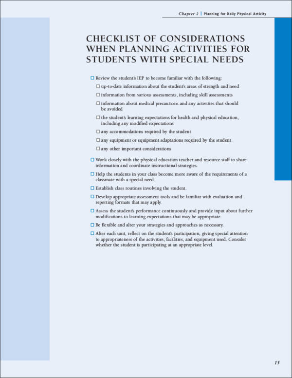 sample planning checklist for daily activities in school