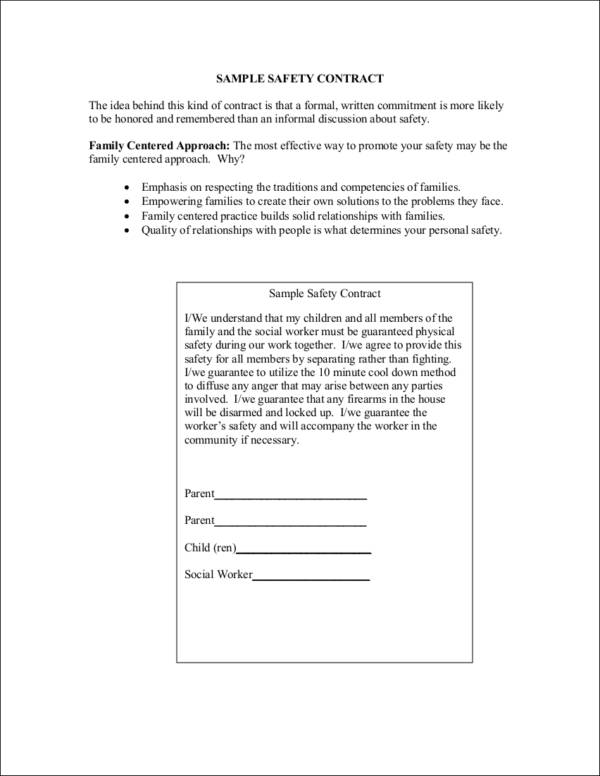 sample safety contract contract template using family approach