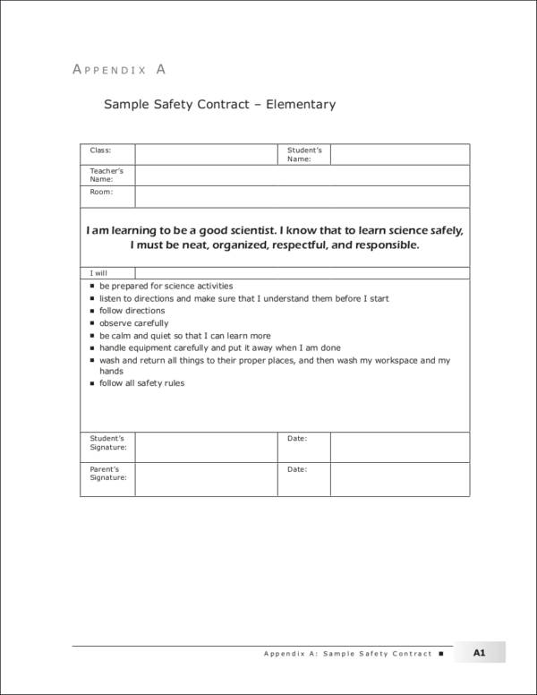 sample safety contract template for elementary students