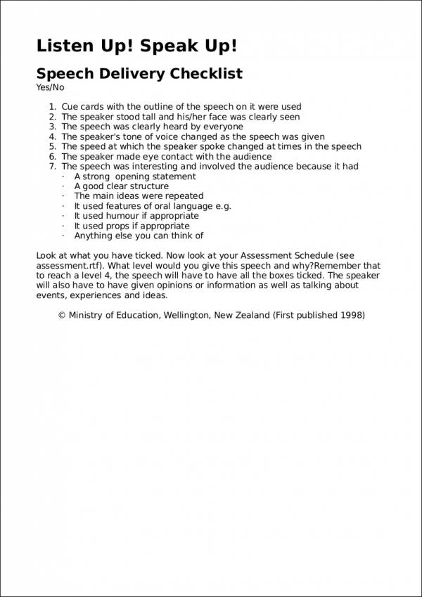 speech delivery checklist