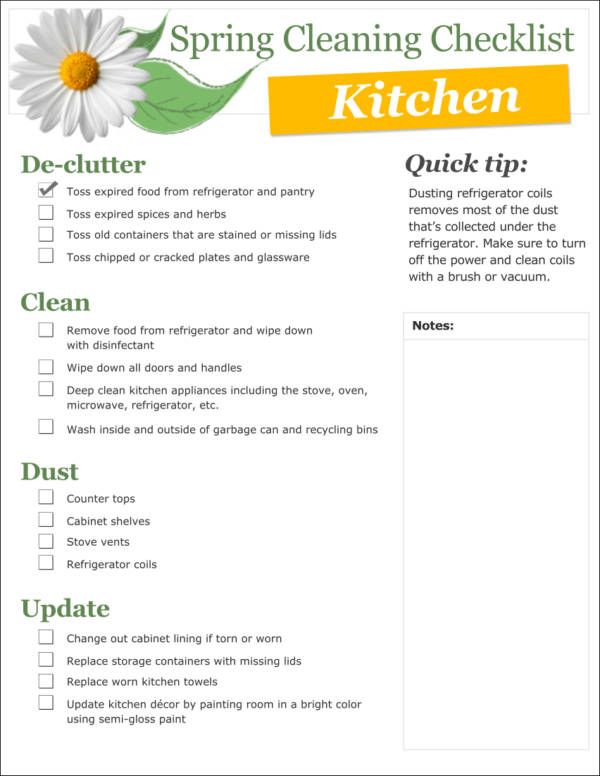 spring cleaning checklist template fo kitchen1