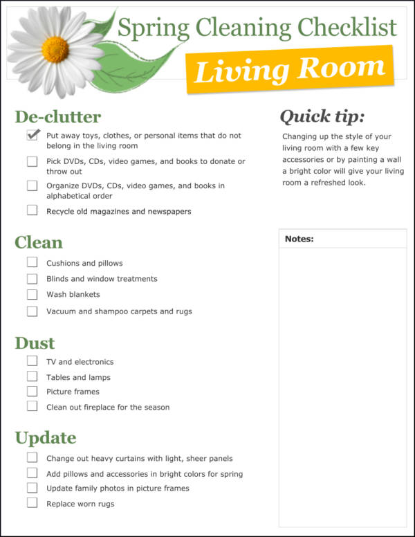 spring cleaning checklist template for living room1