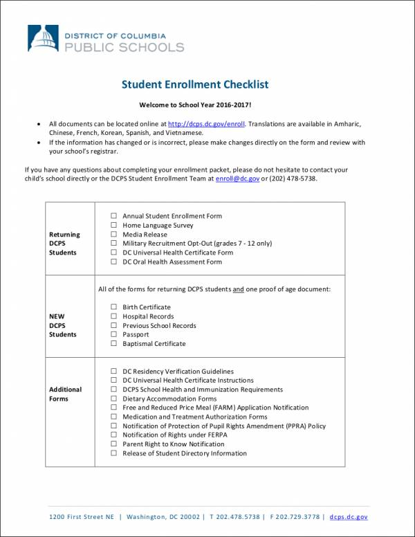 student enrollment checklist template