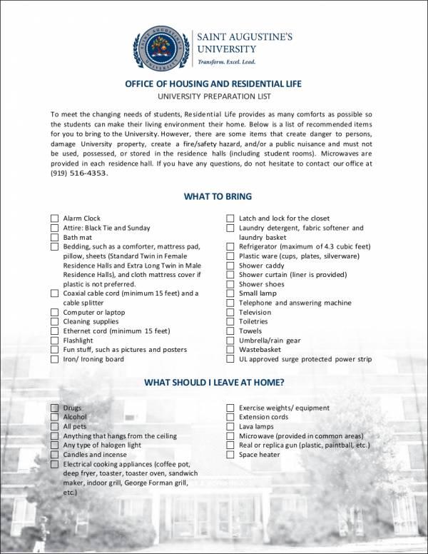 student move in checklist