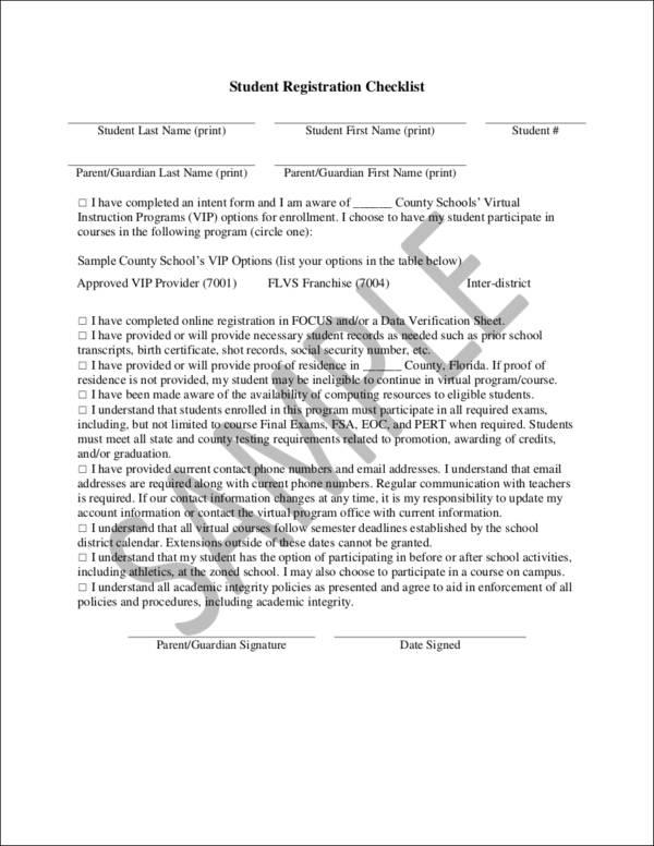 student registration checklist template