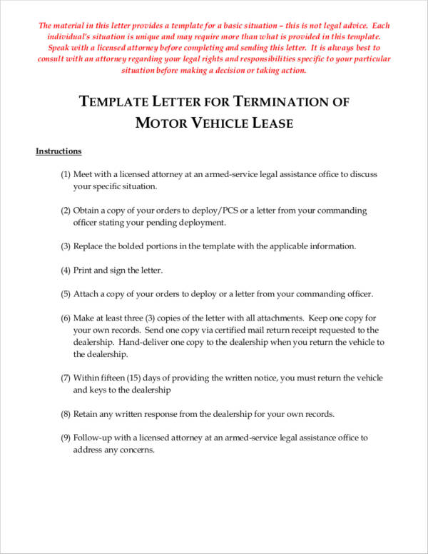 template letter for termination of motor vehicle lease