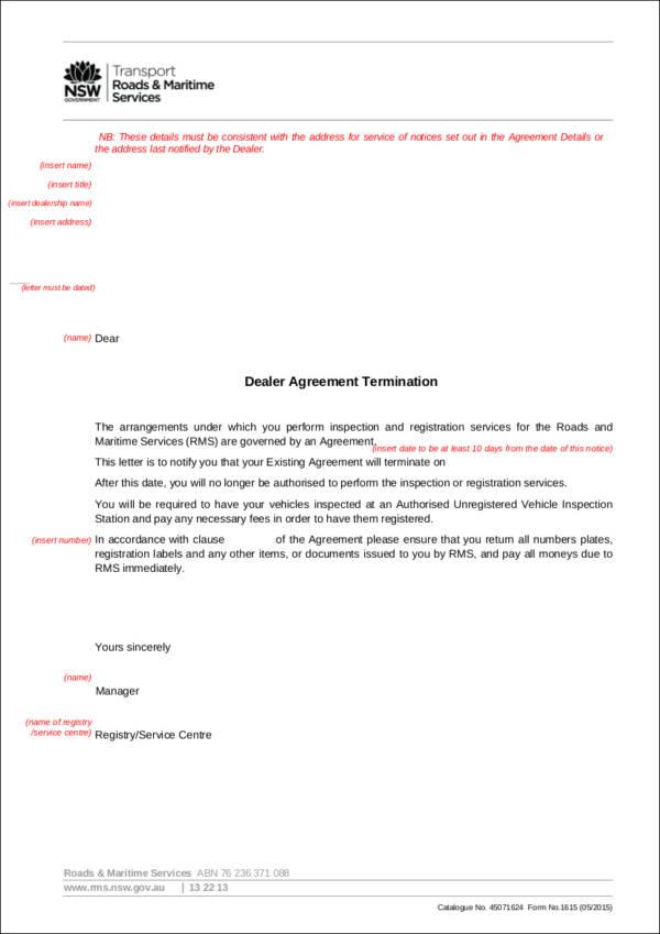 termination letter for dealer agreement
