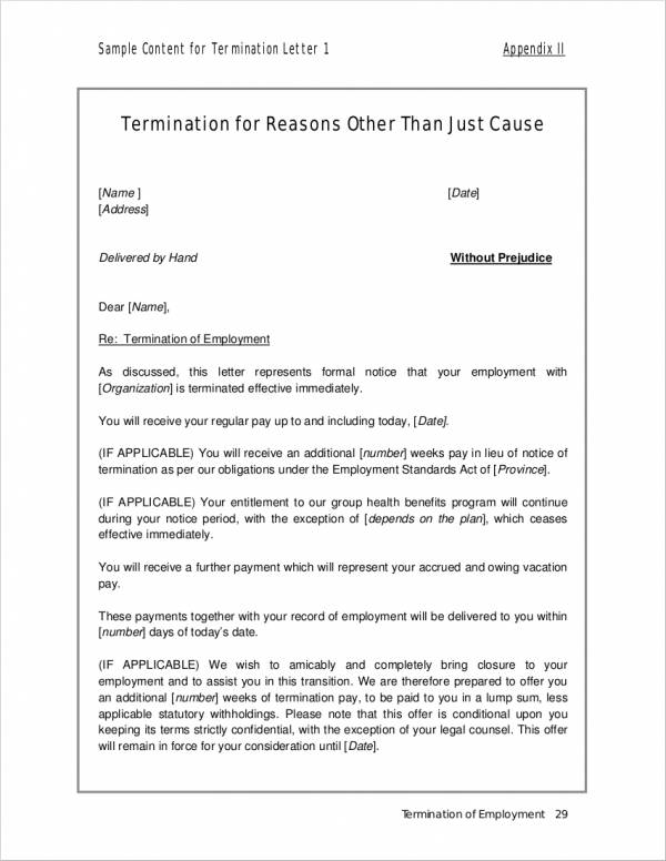 19  employment termination letter samples  u0026 templates