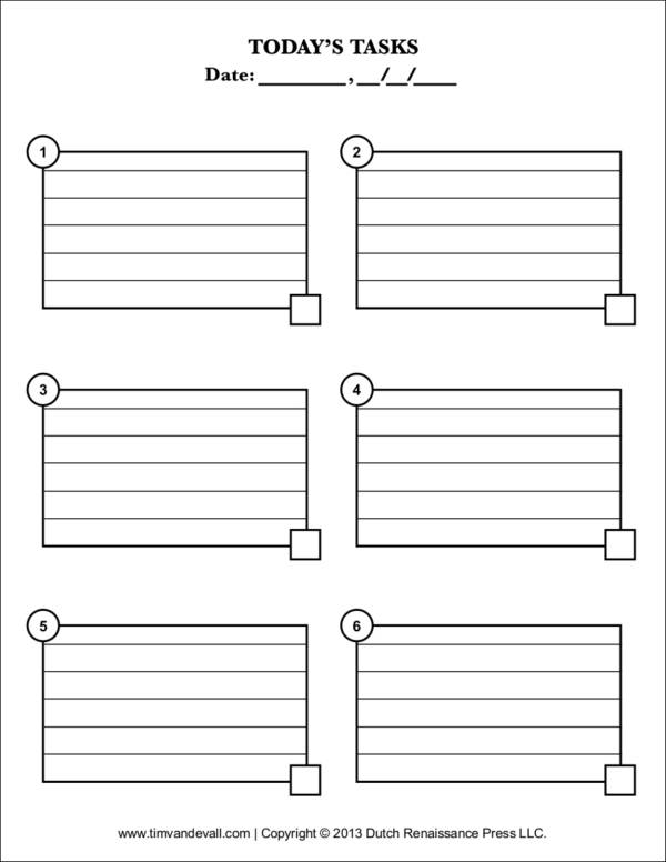 todays task checklist template