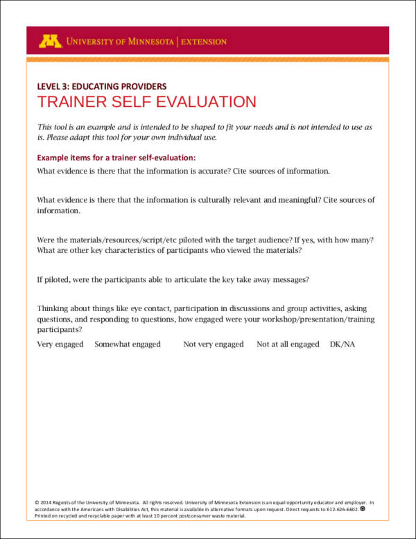 trainer self evaluation form example