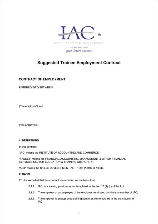training contract template for employment