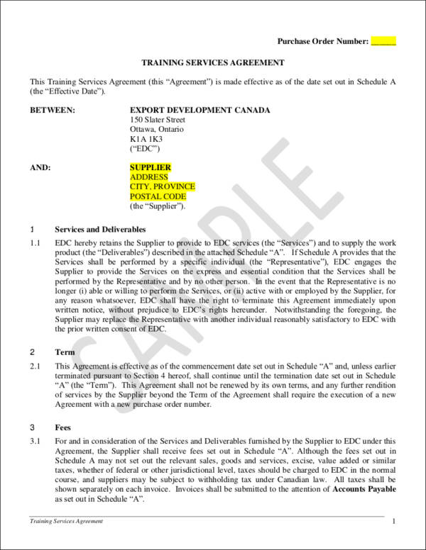 training services agreement contract template