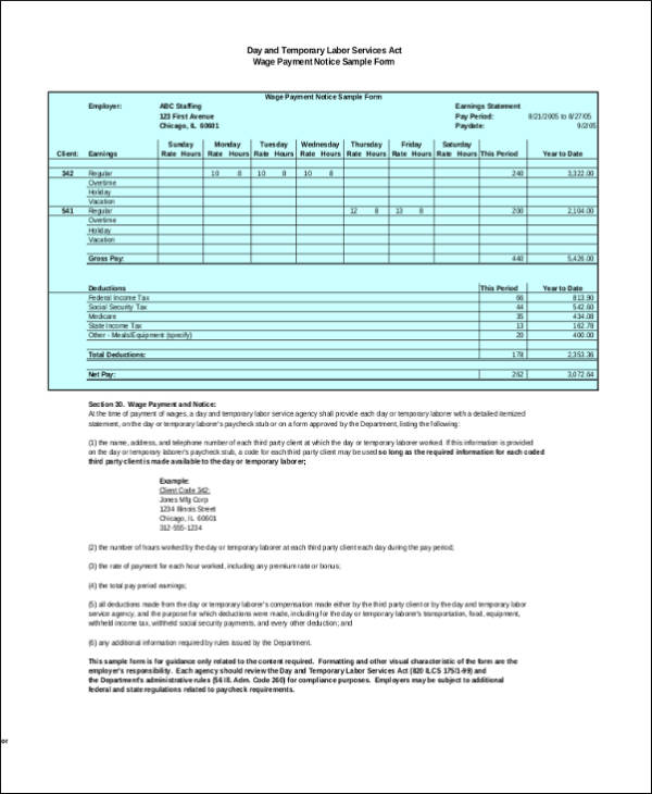 wage payment notice sample