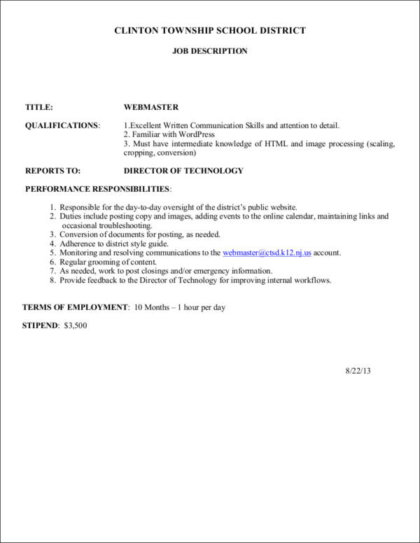 Job Profile Samples  Templates  Free Word Pdf Format Download