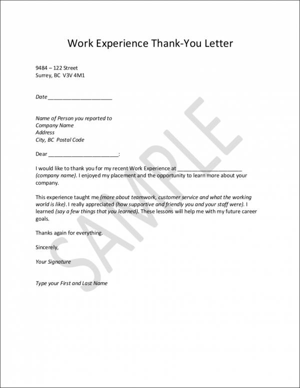 work experience thank you letter sample
