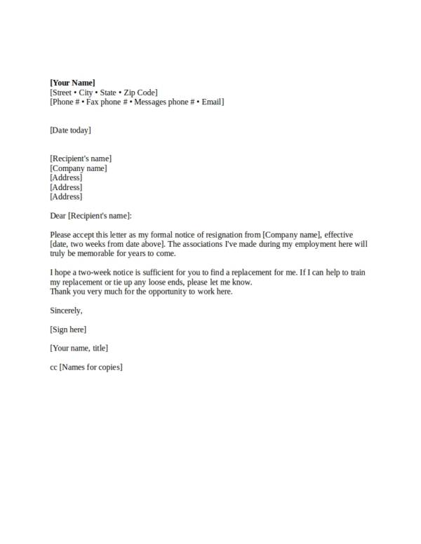 formal notice of resignation format