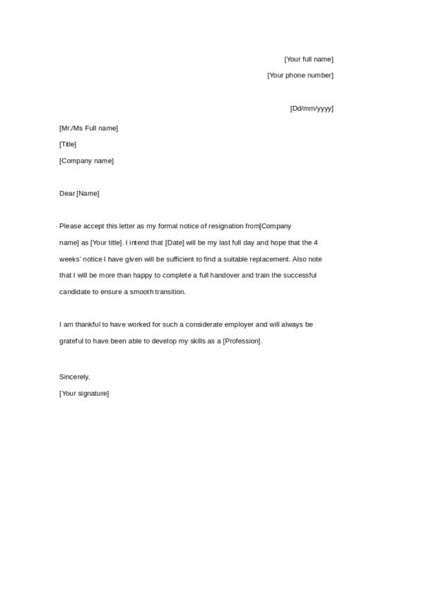 four weeks resignation notice