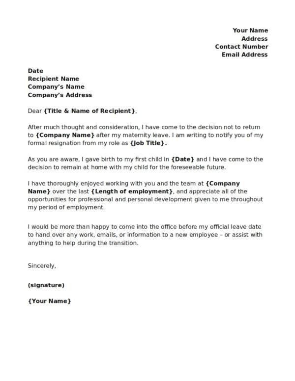 post maternity resignation notice