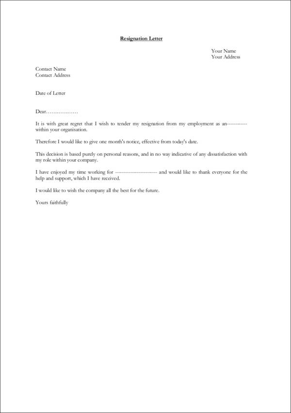 best resignation letter samples one month notice 9 resignation notice samples amp templates free word pdf 18288