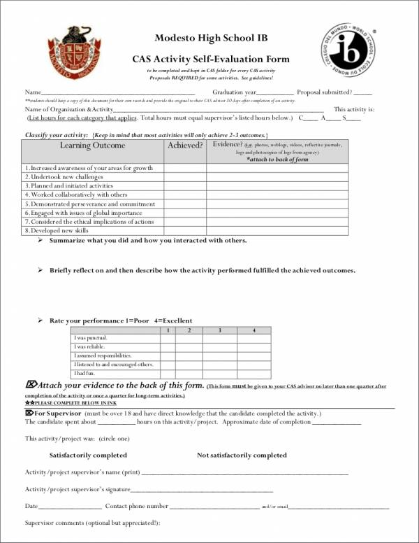 activity self evaluation form for high schools