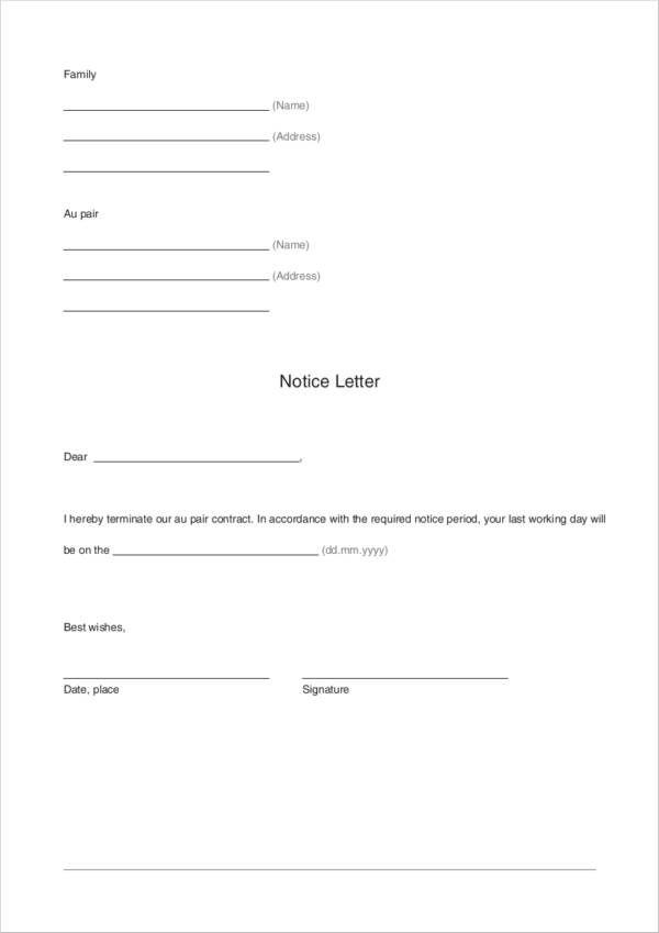 Au Pair Contract Termination Letter