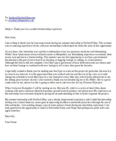 basic internship thank you letter
