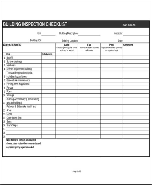 Free 24 Inspection Checklist Samples Amp Templates In Pdf