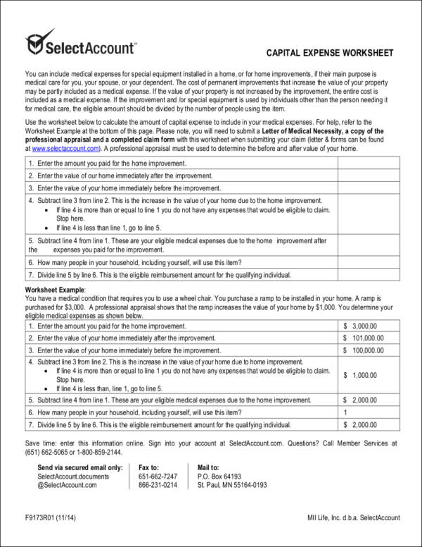 capital expense worksheet sample