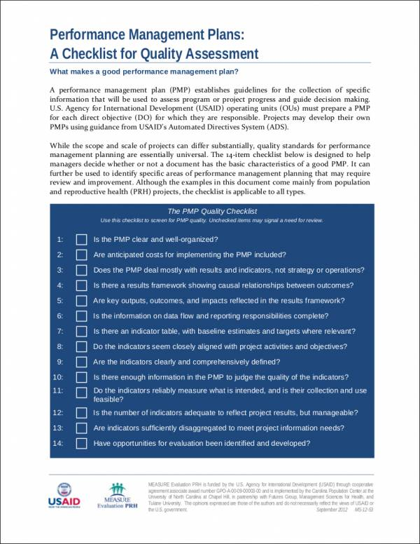 checklist template for quality assessment