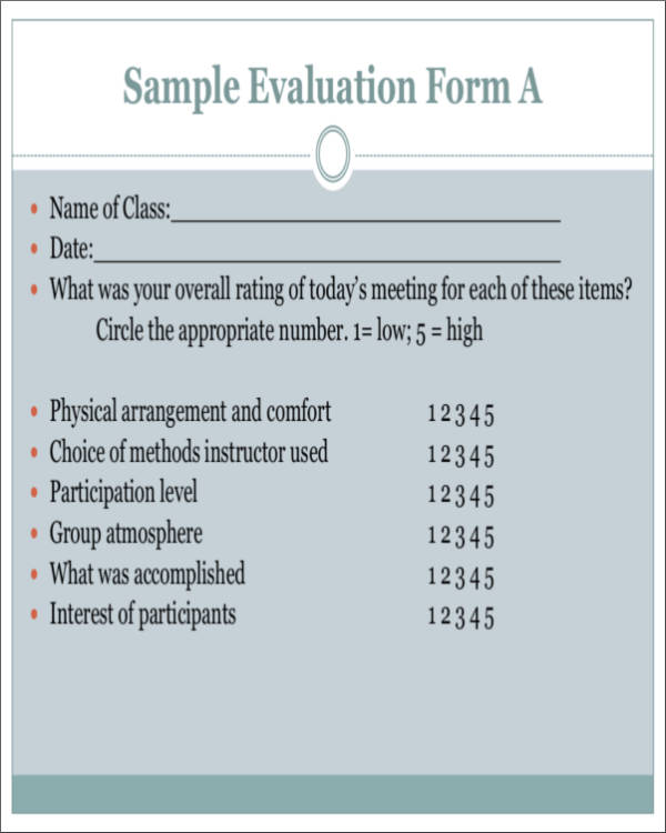 class activity evaluation form samples