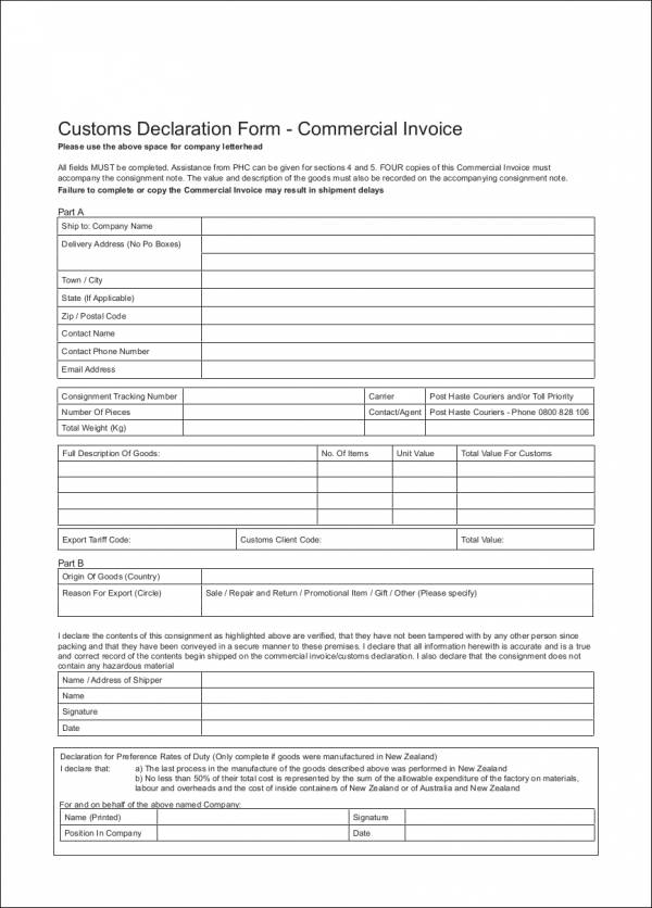 commercial invoice template for customs declaration