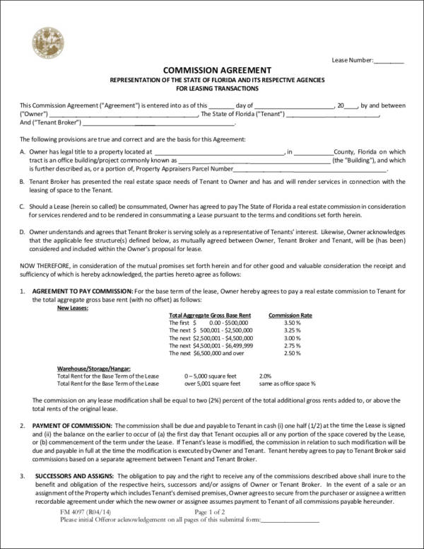 commission agreement sample for leasing transactions