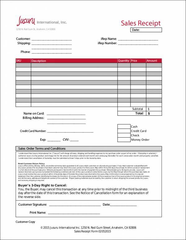 customer sales receipt template