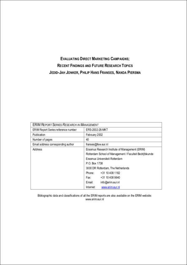 direct marketing campaign evaluation sample