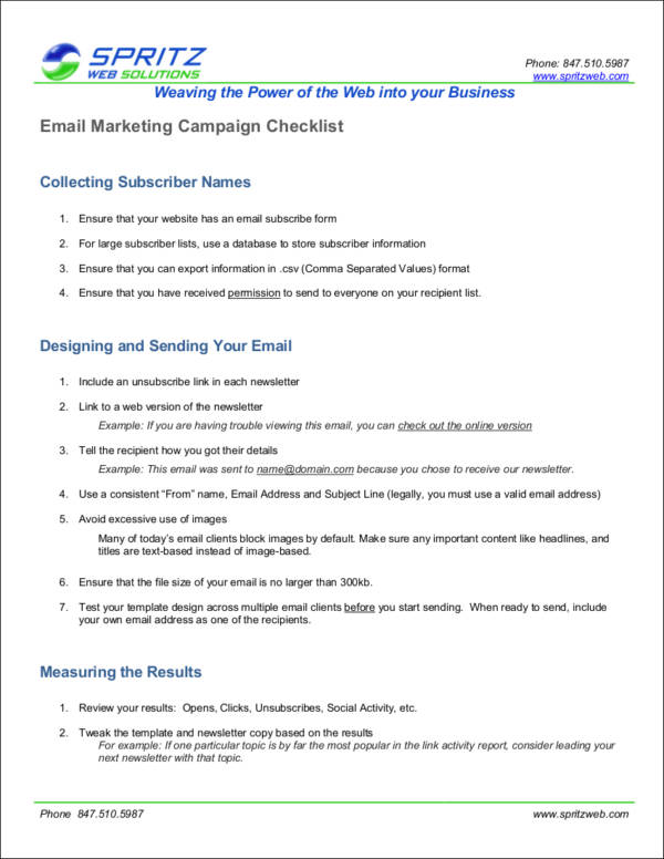 email marketing campaign checklist sample